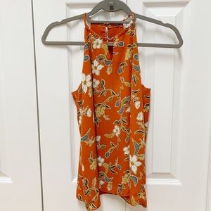 Orange Floral Tank Top with Keyhole Detailing